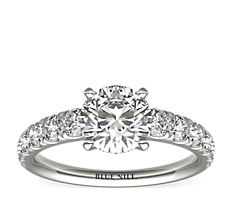 Graduated Tazza Pavé-Set Diamond Engagement Ring in Platinum (3/4 ct. tw.)