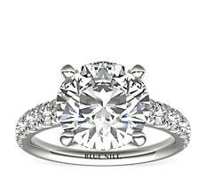 Bague de fiançailles en diamants gradués sertis pavé Tazza en platine (3/4carat, poids total)