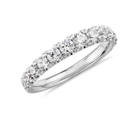 鉑金 漸變 Tazza 密釘鑲法鑽石戒指<br>( 3/4 克拉總重量)