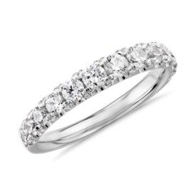 NOUVEAU Bague en diamants gradués sertis pavé Tazza en platine (3/4carat, poids total)