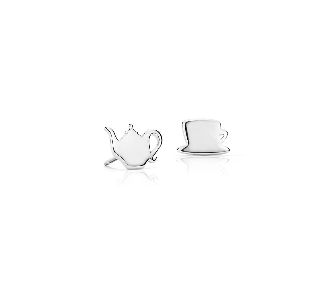 Tea Time Mismatched Stud Earrings in Sterling Silver