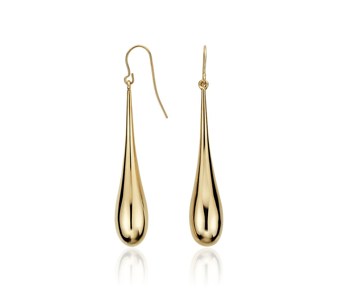 Long Teardrop Dangle Earrings in 14k Yellow Gold