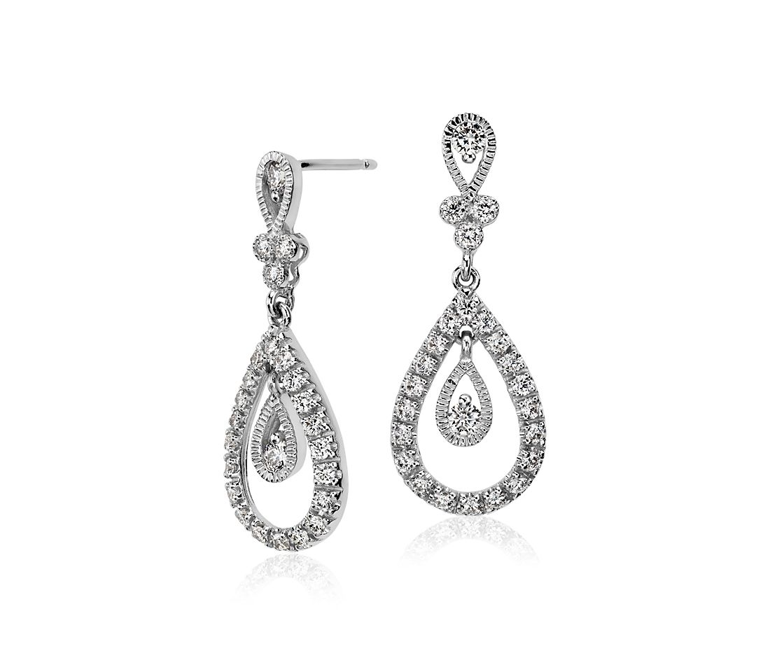 Teardrop Diamond Dangle Earrings In 18k White Gold 3 4 Ct Tw