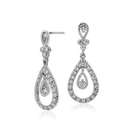 Teardrop Diamond Dangle Earrings in 18k White Gold (3/4 tw.)