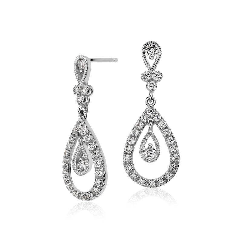 Teardrop Diamond Dangle Earrings in 18k White Gold (3/4 ct. tw.)