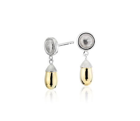 Two-Tone Teardrop Earrings in Sterling Silver and Yellow Gold Vermeil