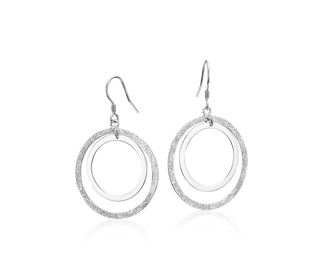 Textured Duo Circle Earrings in Sterling Silver