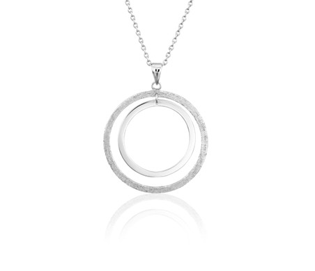 Textured Duo Circle Necklace in Sterling Silver