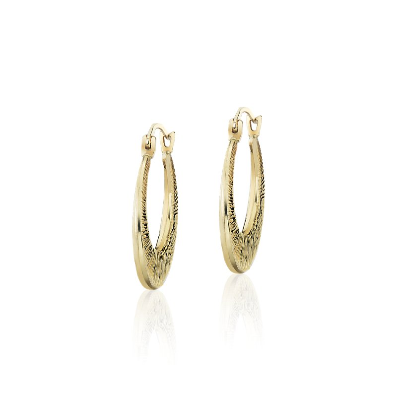 "Textured Graduated Hoop Earrings in 14k Yellow Gold (11/16"")"