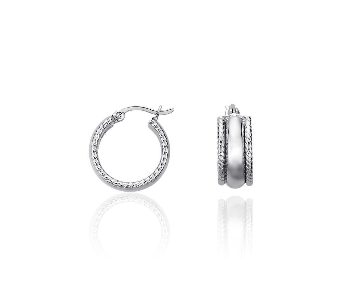 Textured Huggie Earrings in Sterling Silver