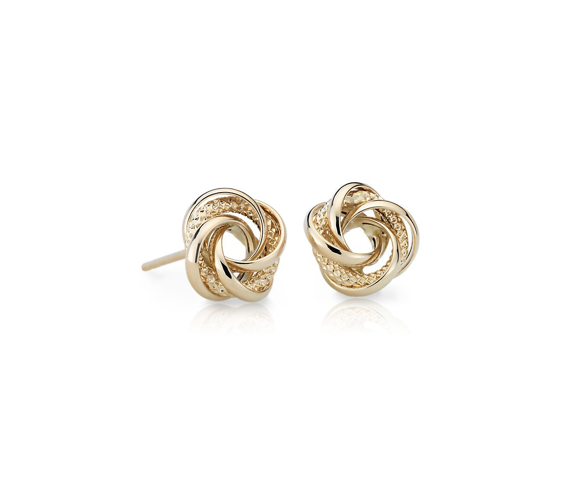 Textured Love Knot Earrings in 14k Yellow Gold