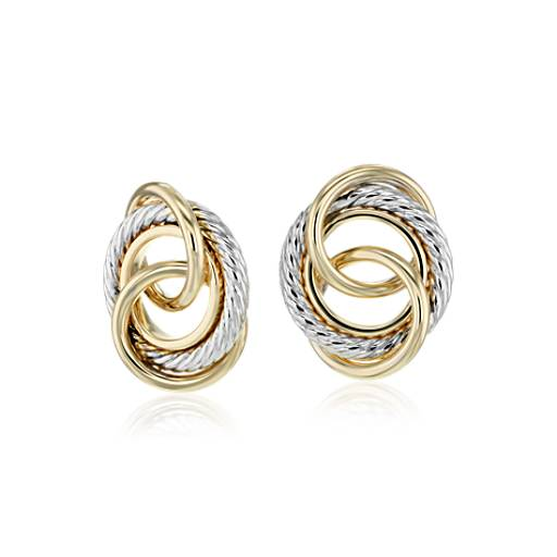 Blue Nile Crossed Huggie Earrings in 14k Yellow and White Gold IVdZnpMiK4