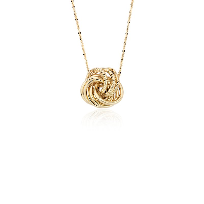 Textured Love Knot Pendant in 14k Italian Yellow Gold