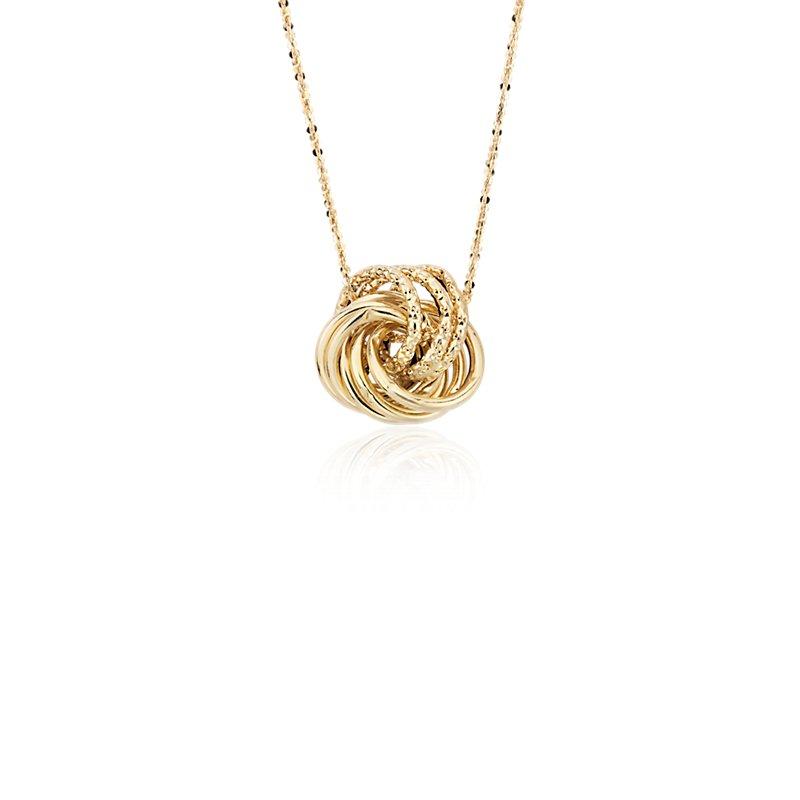 Textured Love Knot Pendant in 14k Italian Yellow Gold