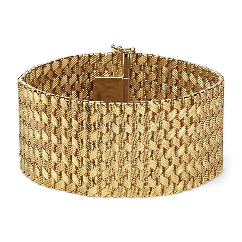 Textured Wide Mesh Bracelet in 18k Italian Yellow Gold