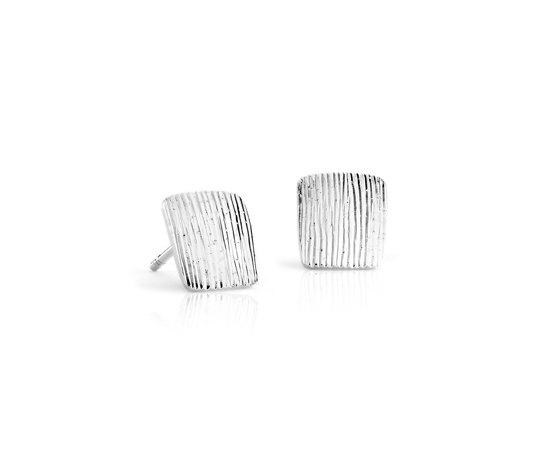Textured Slice Stud Earrings in Sterling Silver