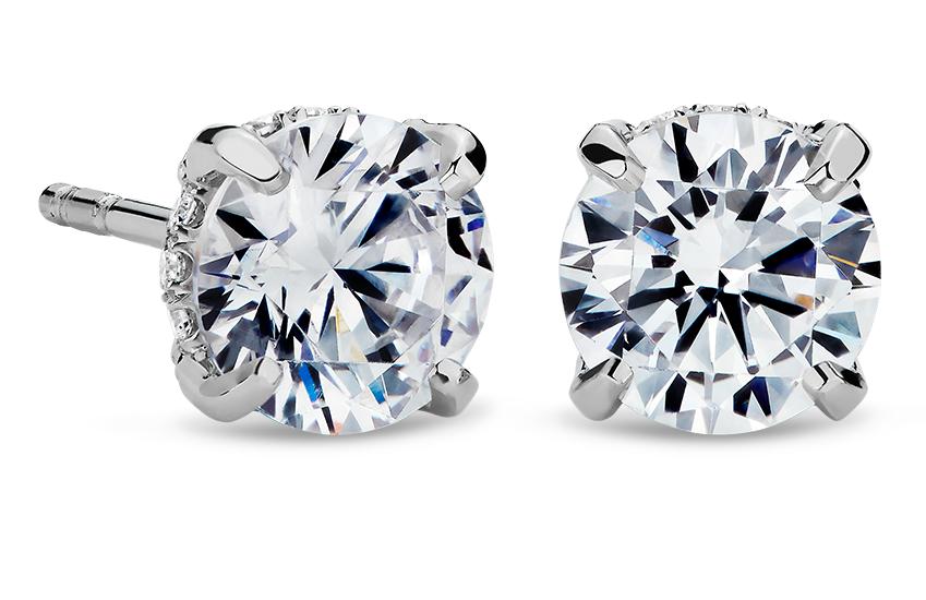 La Gallery Collection™ Montures de boucles d'oreilles avec diamants sertis pavé en platine