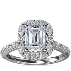 The Ritz Emerald Halo Diamond Engagement Ring in 14k White Gold (1/2 ct. tw.)