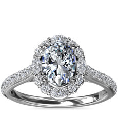 NEW The Ritz Oval Halo Diamond Engagement Ring in 14k White Gold (1/2 ct. tw.)