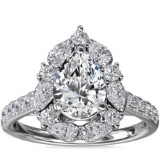 NEW The Ritz Pear Halo Diamond Engagement Ring in 14k White Gold (3/4 ct. tw.)