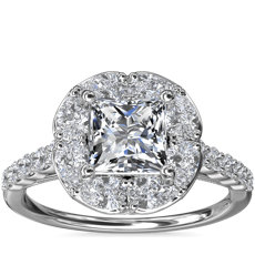 The Ritz Princess Halo Diamond Engagement Ring in 14k White Gold (1/2 ct. tw.)