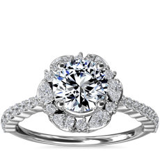 NEW The Ritz Round Halo Diamond Engagement Ring in Platinum (3/8 ct. tw.)