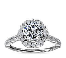 14k 白金The Ritz 圓形光環鑽石訂婚戒指(3/8 克拉總重量)