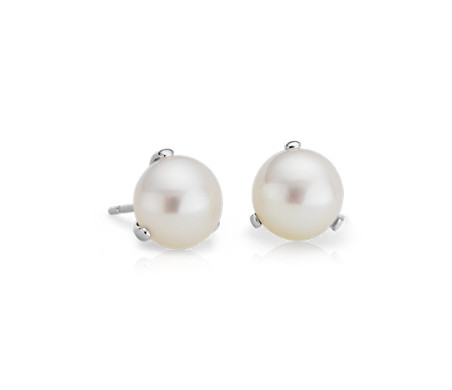 Freshwater Pearl Three Prong Earring Studs in 14k White Gold
