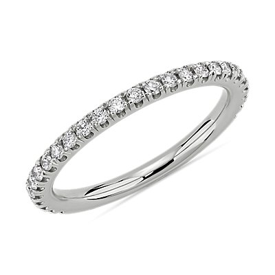Three Quarter Pavé Diamond Wedding Ring in 14k White Gold (1/4 ct. tw.)