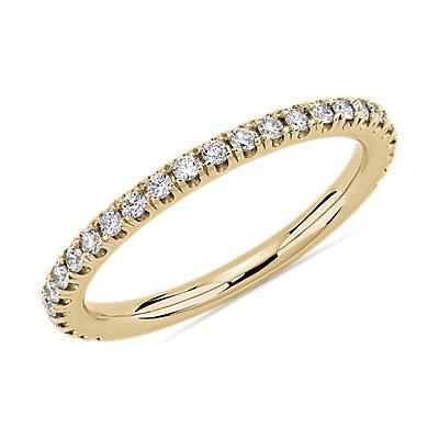 Alliance en diamants sertis pavé aux trois quarts en or jaune 14carats (1/4carat, poids total)