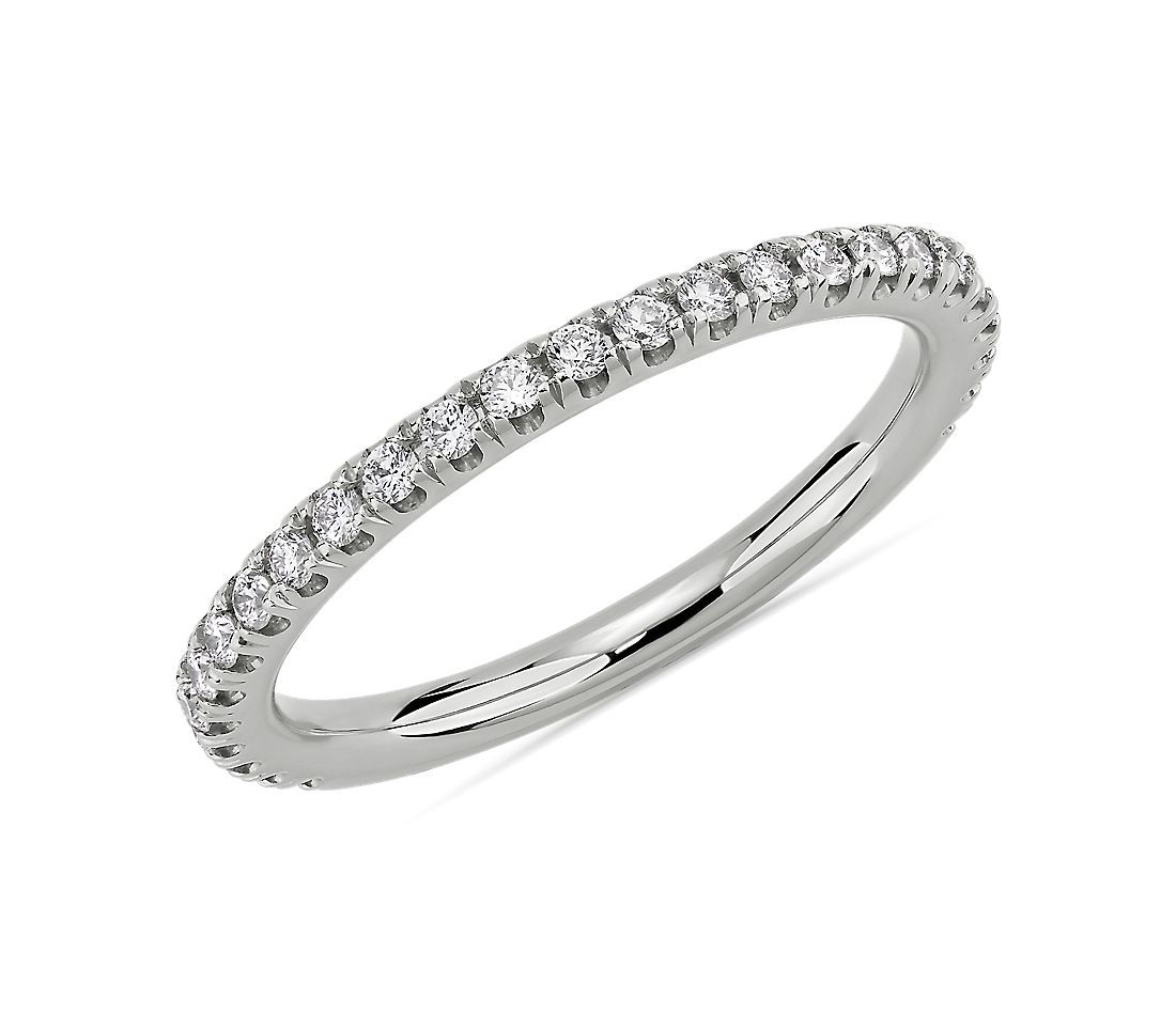 Three Quarter Pavé Diamond Wedding Ring in Platinum (1/4 ct. tw.)