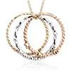 Three Ring Pendant in 14k Tri-Color Gold