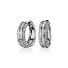NEW Three Row Baguette and Round Hoop Earrings in 14k White Gold (1 ct. tw.)