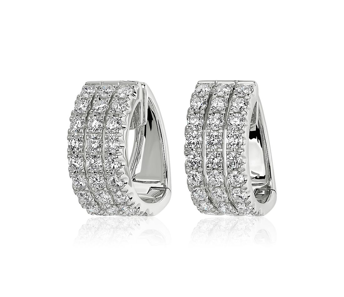 Three Row Diamond Huggie Hoop Earrings in 14k White Gold (3 3/4 ct. tw.)