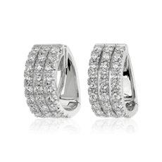 Three Row Diamond Huggie Hoop Earrings in 14k White Gold (3 3/4 ct. tw.)