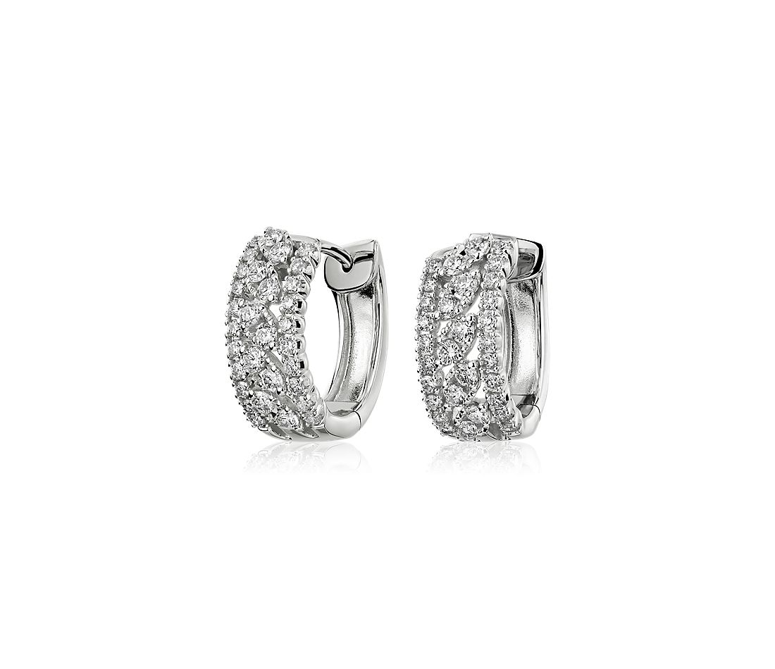 Three-row Diamond Marquise Shape Hoop Earrings in 14k White Gold (2/3 ct. tw.)