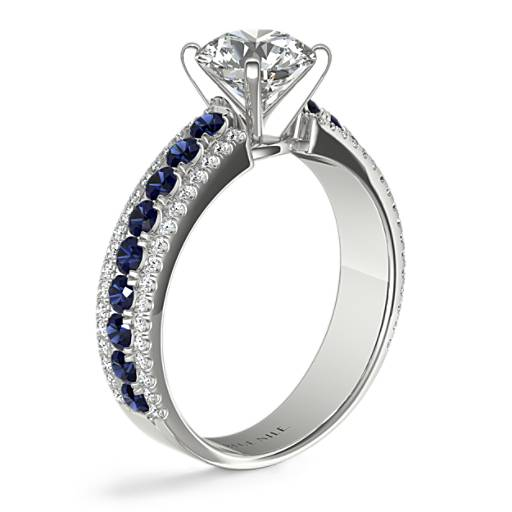 Three Row Sapphire and Diamond Engagement Ring