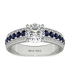 14k 白金三道式大教堂蓝宝石与钻石订婚戒指<br>(1/4 克拉总重量)