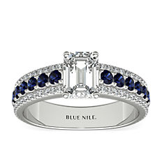 Three Row Sapphire and Diamond Engagement Ring in 14k White Gold (1/4 ct. tw)