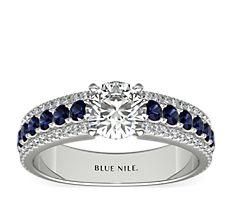 14k 白金三道式大教堂蓝宝石与钻石订婚戒指(1/4 克拉总重量)