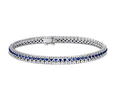 Three-Row Sapphire and Diamond Bracelet in 14k White Gold (1.9mm)