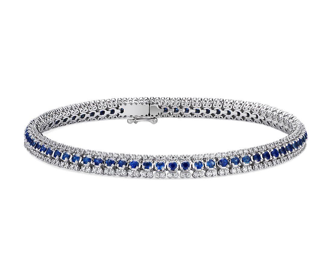 Bracelet triple rang diamant et saphir en or blanc 14carats (1,9mm)