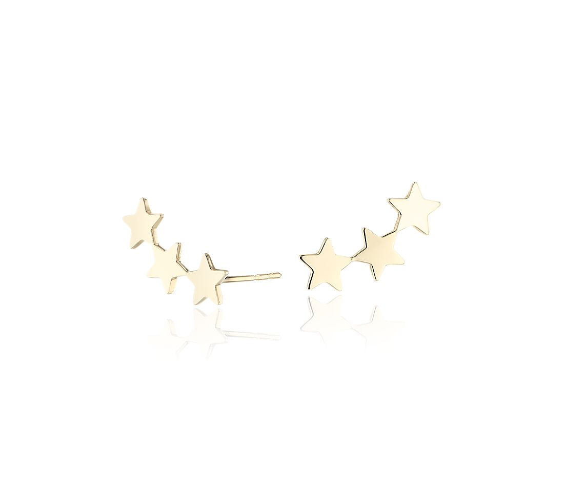 Three Star Ear Climber Stud Earrings in 14k Yellow Gold