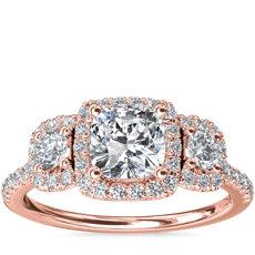 新款 14k 玫瑰金三石垫形光环钻石订婚戒指