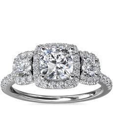 NEW Three-Stone Cushion Halo Diamond Engagement Ring in 14k White Gold