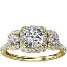 新款 14k 金三石垫形光环钻石订婚戒指