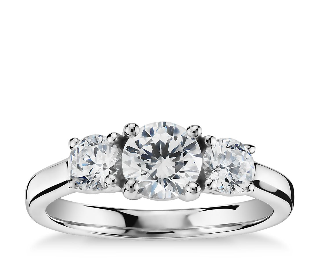 Classic Three-Stone Diamond Engagement Ring In Platinum
