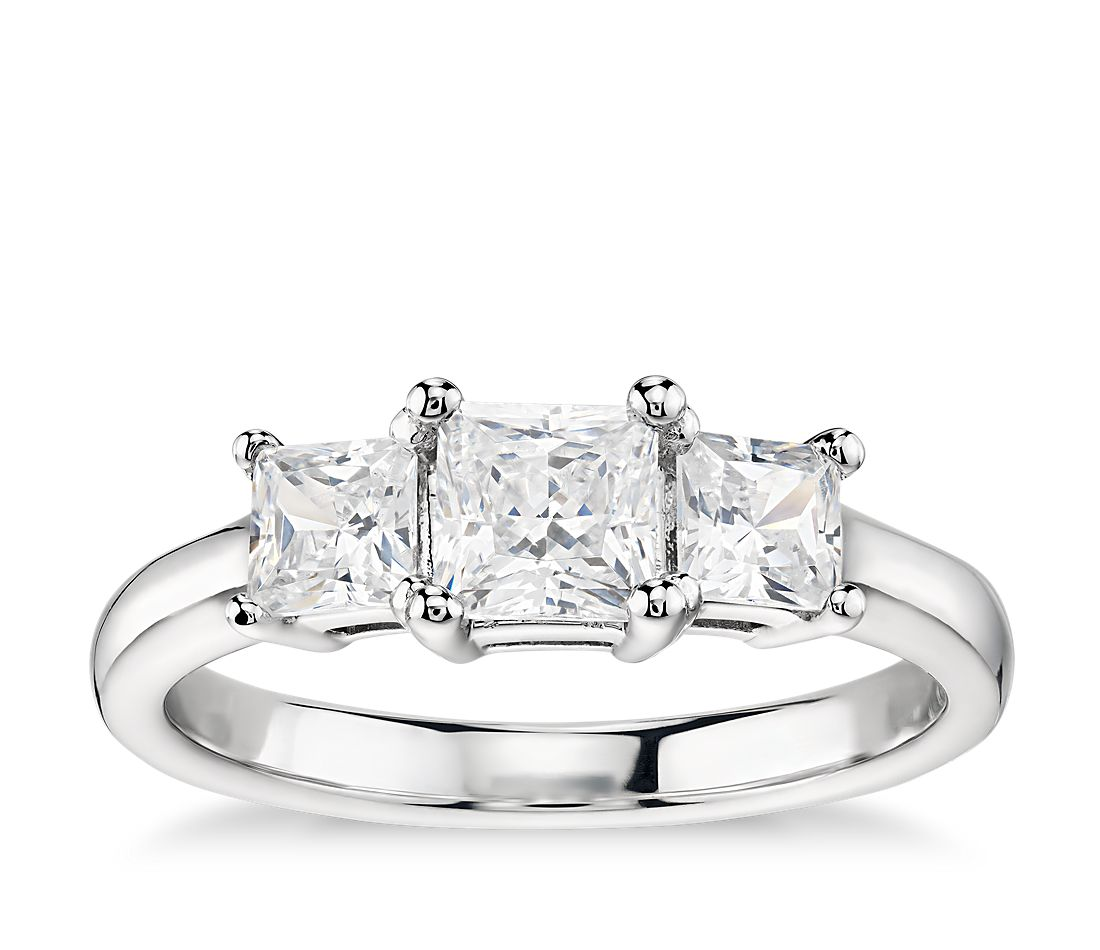 Classic Three-Stone Diamond Engagement Ring in 14k White Gold