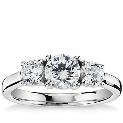 Classic Three-Stone Diamond Engagement Ring in 14k White Gold