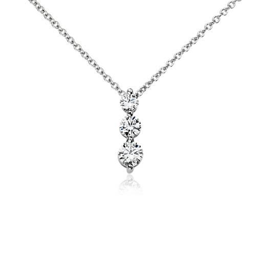 Three Stone Drop Diamond Pendant In 14k White Gold 1 2 Ct